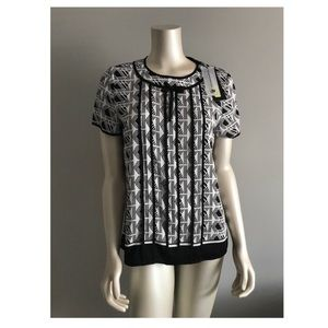 Karl Lagerfeld Black and White Blouse w/ Bow